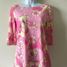 Lilly Pulitzer Size S 100% Cotton Boatneck Top Floral Pink Yellow 3/4 Sleeve