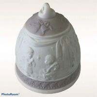 1995 Lladro Christmas Bell Ornament Lavender Holy Family Angels Porcelain No Box