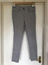 ❤️ DOROTHY PERKINS Ladies Size 12 Navy & White Patterned Skinny Slim Trousers