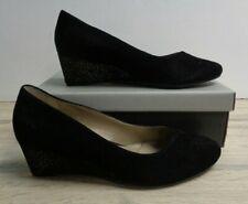 Van Dal Hanover Ladies Black Suede Wedge Heel Shoes Size UK 7EE BOXED