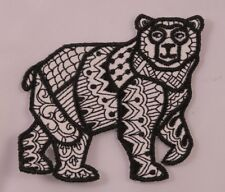 Embroidered Black Tattoo Pattern Tribal Wild Grizzly Bear Patch Iron On Sew On