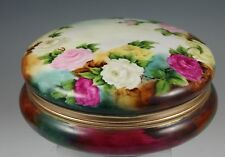 Hand Painted Rose Design Jar BOX DRESSER JAR with gold rim