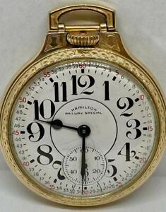 1970 Hamilton Railway Special Pocket Watch 992B 16s 21j Runs Railroad Gold Fill