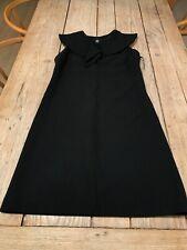 Wonderful GIANFRANCO FERRE Black Wool Shift DRESS With Removable Collar, UK 12