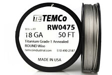 TEMCo Titanium Wire 18 Gauge 50 Ft Surgical Grade 1 Resistance AWG ga