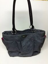 """Baggallini Gray Shoulder Bag Tote Purse Pink Lined 15x11x6"""" Need straps repaired"""