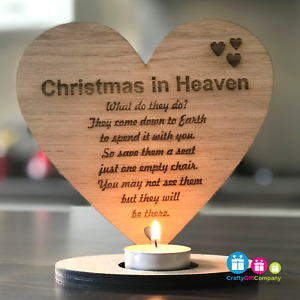 Christmas in Heaven Remembrance heart candle tea light holder - Because someone