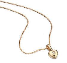 """Infantil 9ct Oro Amarillo Colgante De Corazón De Diamante & 14"""" Cadena GP077"""