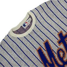 Vintage 80's Neuf Grand Cliff Engle Ny Mets à Fine Rayure Pull Col Rond Made USA