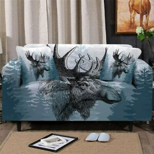 Moose Deer Forest Elk Sofa Chair Couch Cushion Stretch Cover Slipcover Set Decor