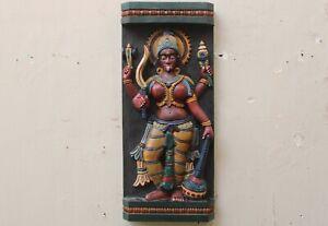 Vintage Kali Statue Wall Hanging Panel Sculpture Wooden Hindu Goddess Figurine