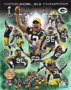 2010 Green Bay Packers Super Bowl Champions 8x10 Gold Composite Photo Free Ship