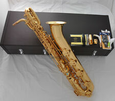 Professional Taishan Gold Baritone saxophone Low A high F# Sax 2Neck ABALONE Key
