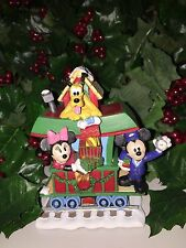 Disney MICKEY MINNIE MOUSE and PLUTO CHRISTMAS Train Village Figure RARE