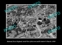 OLD LARGE HISTORIC PHOTO HALSTEAD ESSEX ENGLAND THE TOWN & CHURCH c1950