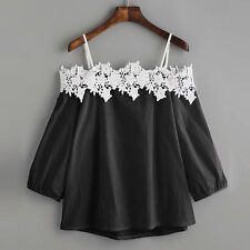 Summer Womens Ladies Sleeveless Lace Blouse Ladies Loose Off Shoulder Shirt Tops