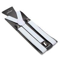 NEW White Clip-on Elastic Y-Shape Adjustable SUSPENDERS Wedding USA SELLER