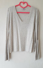 PIMKIE Pull neuf T.S manches pagodes - col V - maille fine beige