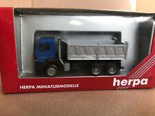 Herpa 1:87 HO Mercedes Atego 3 axle Dump Truck Blue Model 145367