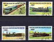 Trenes Alto Volta (2) serie completo de 4 sellos matasellados
