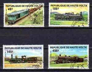 Trains Haute Volta (2) série complète de 4 timbres oblitérés