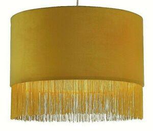 Lighting Collection Velvet Pendant Shade with Mustard Fringe Tassel Trim