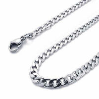 "3mm Stainless Steel Curb Chain - 16"" to 36"" Solid Mens & Womens Silver Necklace"