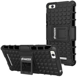 AMZER Shockproof Warrior Hybrid Case for Xiaomi Mi 4i - Black/Black