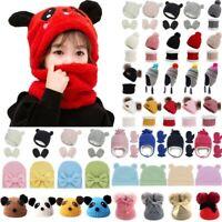 Toddler Kids Baby Boys Girls Knitted Beanie Cap Crochet Scarf Gloves Sets Winter