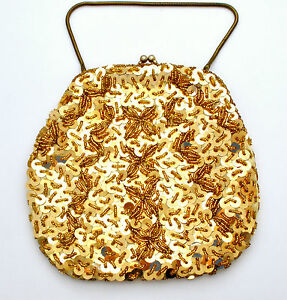 Gold Sequin Purse with Glass Beads Evening Bag Handbag Vintage Beaded Clutch