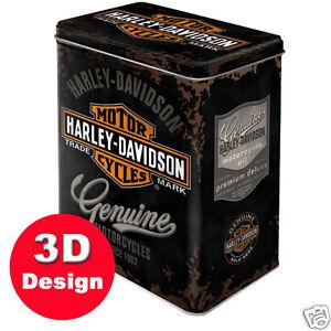 Harley Davidson - Embossed Storage Tin -14cm long by 10cm depth by 20cm high.