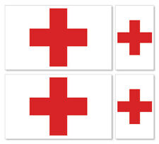4 X RED CROSS FLAG VINYL CAR VAN IPAD LAPTOP STICKER