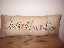 Primitive Stenciled Pillow - Faith Hope Love