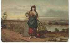 Postcard - Woman with String Instrument - Postmarked 1907.