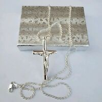 925 Sterling Silver big  Cross  Crucifix Religious 24 inches chain Pendant