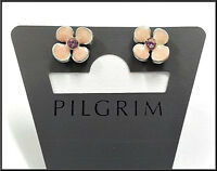NEW PILGRIM SILVER EARRINGS CRYSTALS SMALL PINK ENAMEL FLOWERS DELICATE STUD .,
