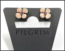 Pilgrim Denmark Silver Plated Earrings Crystals Small Pink Enamel Flowers