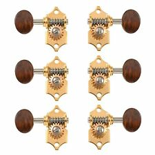 Waverly Guitar Tuners with Snakewood Knobs, for Solid Pegheads, Gold, 3L/3R