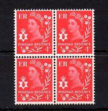 Northern Ireland 1968-69 Regional 4p Vermillion Block of 4 MNH stamps