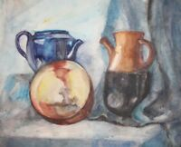 Vintage watercolor drawing still life with teapots and bowl