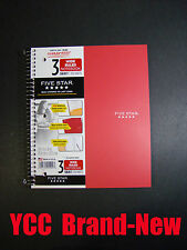 Mead Five Star Spiral Notebook 3 sub,150 Sheet,Wide Ruled,10.5 x 8 in,Red Cover