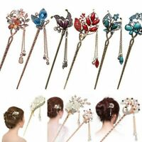 Chinese Style Metal Rhinestone Hair Chopsticks Hair Stick Hairpin Chignon Pin YK