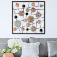 Wandbild Metallbild Kreise Linien Wanddeko Wohnzimmer 50x50cm modern Design