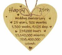 Happy 25th Wedding Anniversary Card Gift Heart Twenty Five Years Husband Wife