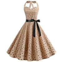 Halter Dress Retro Sleeveless Party Polka Dot women Dresses Swing Evening