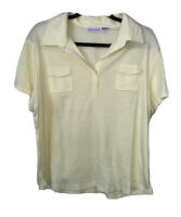 Extra Touch Short Sleeve Shirt Collared Top Ribbed Blouse Women's Plus Size 3X