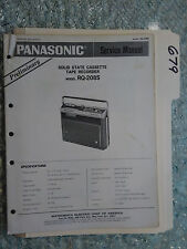 Panasonic rq-208s service manual original repair book cassette tape recorder