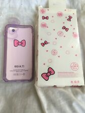 iPHONE 6 6S Hello Kitty Purple See Though 3D Bow Gel CASE NEW In Pack