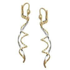 Earrings Brisur Spirals Bicolour 375 Gold New, Earrings, Ladies