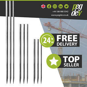 HEAVY DUTY STEEL ROAD FORM LINE PINS - Concrete, Temporary Marking, Point Stakes